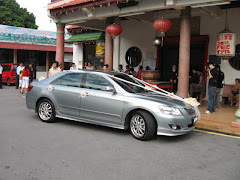 Wedding car outside the temple