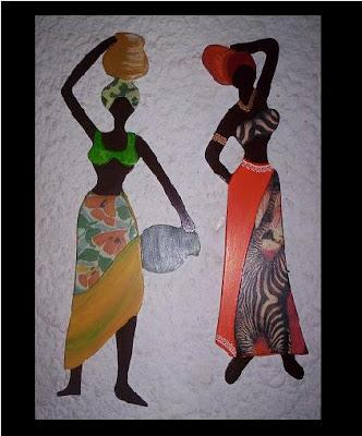 Estatuillas: africanas en yeso, pátinas y lacas metálizadas