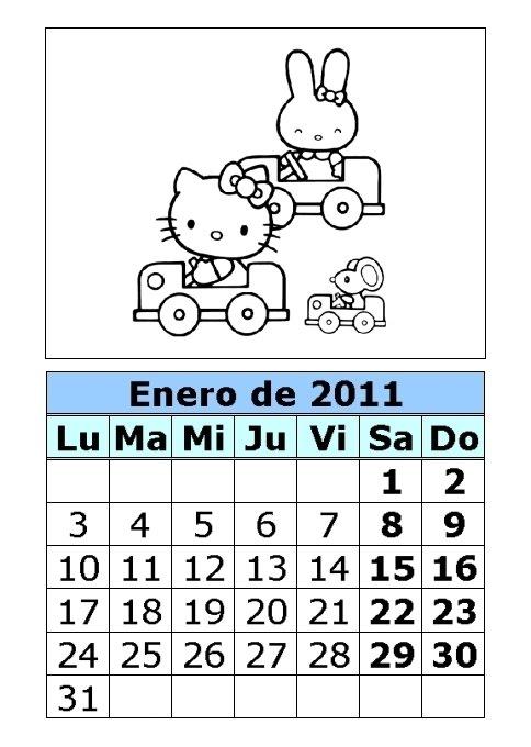 Calendario de Hello Kitty para colorear de 2011 (1ª parte ...