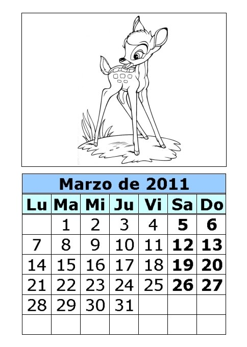 Calendario de Bambi para colorear de 2011 (1ª parte) : Calendarios ...