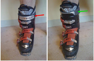 The picture on the left shows the power straps over top of the buckled shell.  The picture on the right shows the power straps underneath the outer boot shell, which gives a tighter fit of the boot around your leg, allowing for more precise and fine-tuned movements in your skiing.