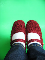 red burgundy mary jane maryjane crochet slippers