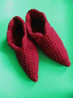red cranberry crochet slippers elf elfin gnome