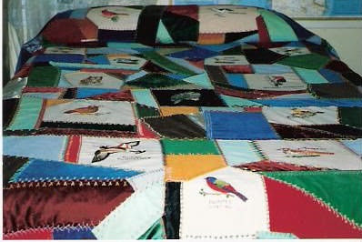 Leigh's embroidered bird quilt