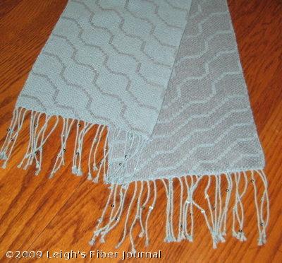 Finished S&W beaded fringe scarf