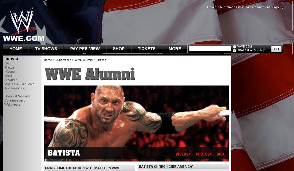 Raw y fue cambiado a WWE Alumni recordemos que Batista renuncio a WWE