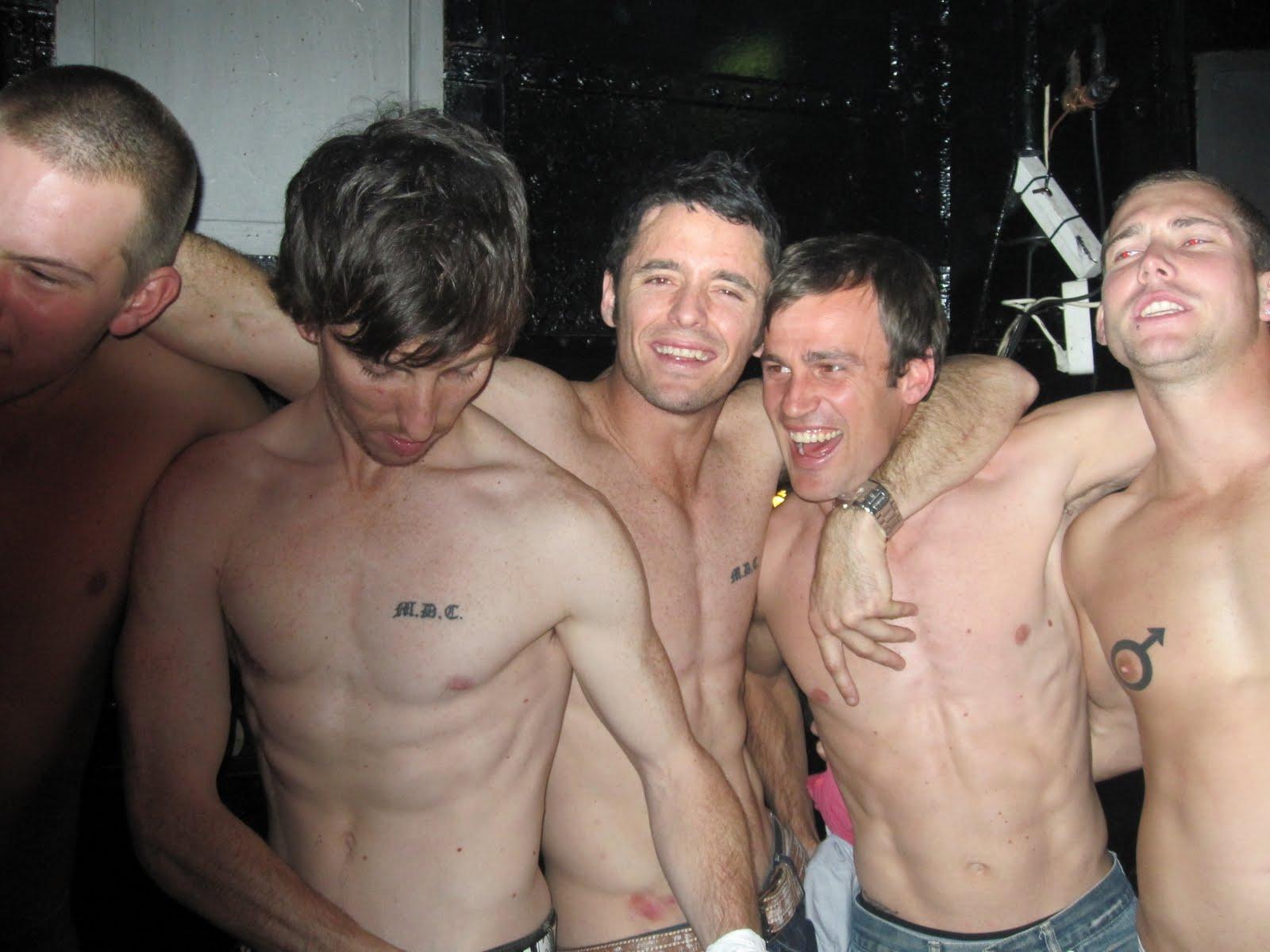 The outcome a bunch of bare chested men despite the 5 degree