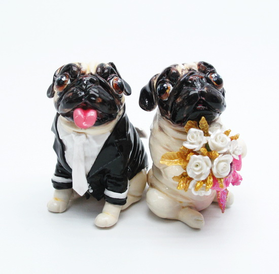 MadamepOmmcustomorder Lilqtgenn Pug Wedding Cake Topper