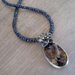 pietersite sapphire necklace