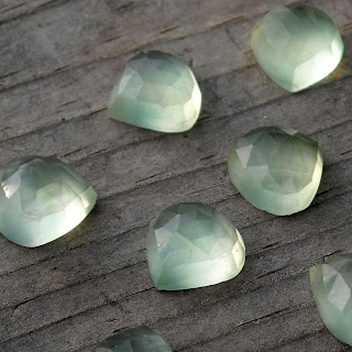 faceted prehnite cabochon