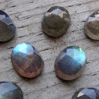 faceted labradorite cabochon