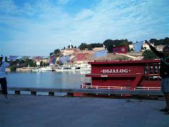 Flags at a barge called Dialogue, Belgrade.