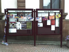 Flags on a notice board in Luxemburg