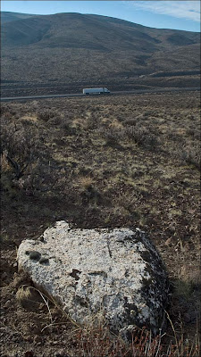 Erratic boulder above Interstate 90 in eastern Kittitas County.