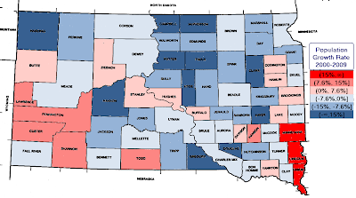 map of population growth in South Dakota, by county, 2000-2009