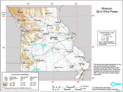 U.S. Department of Energy wind resource map of Missouri