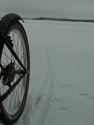 photo: rear wheel, mountain bike, on Lake Herman