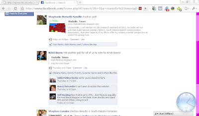 Facebook search showing Noem and Herseth Sandlin campaigns promoting Madville Times post-primary June 2010 poll