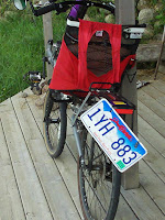 Cory's recumbent, with found license plate