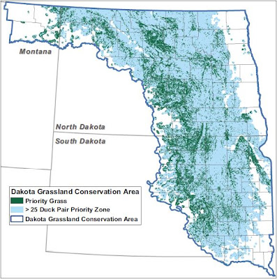 Map of proposed Dakota Grassland Conservation Area
