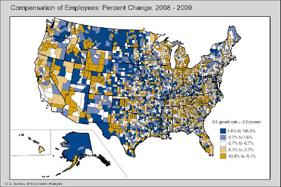 compensation gains and losses, by county, BEA, 2009