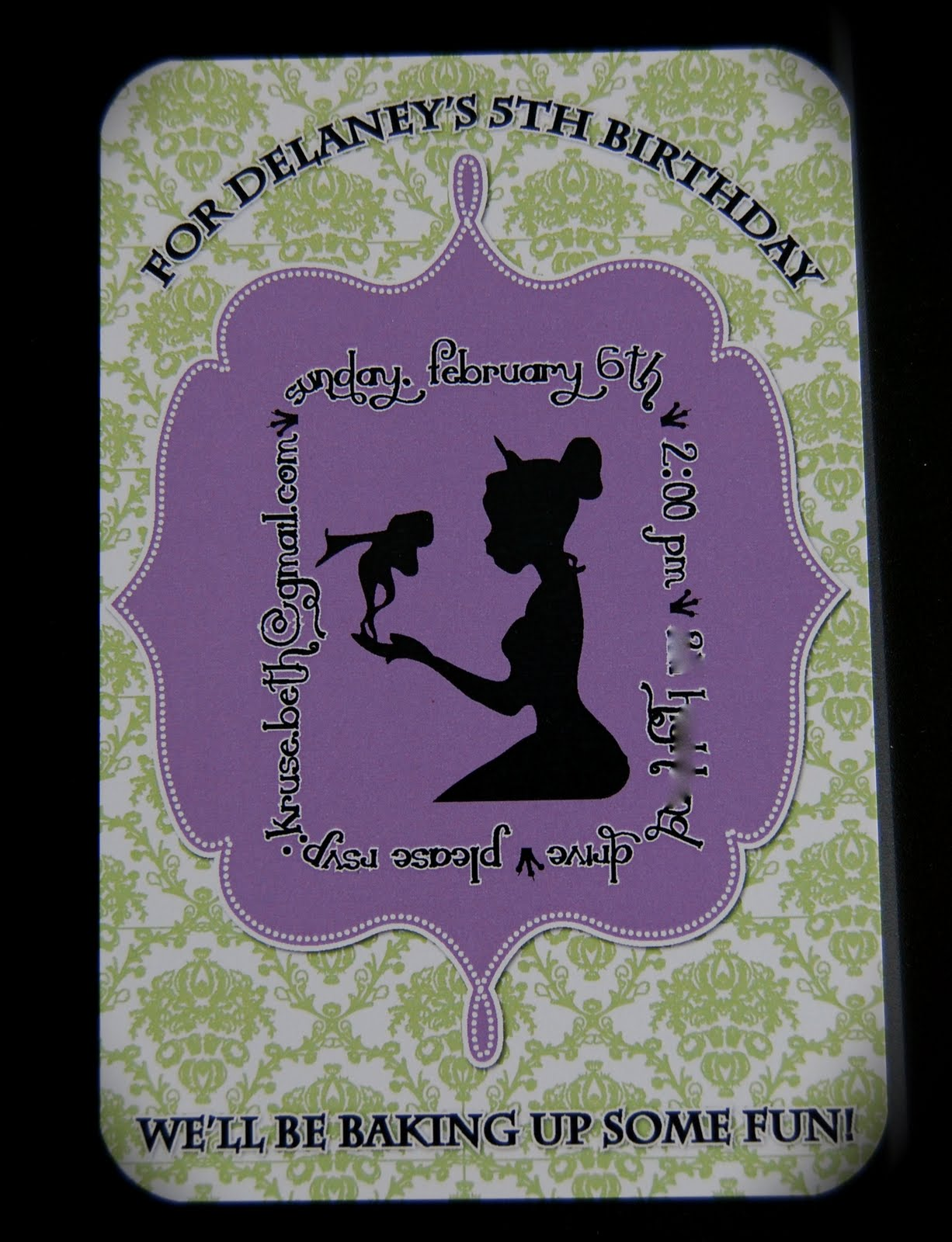 Beth Kruse Custom Creations: princess and the frog invitation