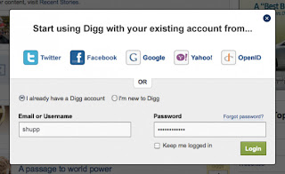 Log in to Digg with Twitter, Google and More ( Coming Soon)