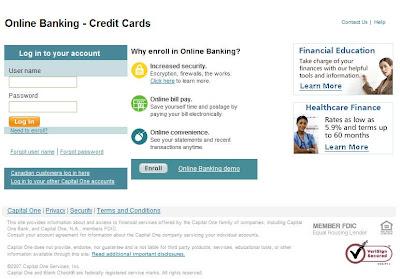 Capital one credit card login at www.capitalone.com/creditcards/