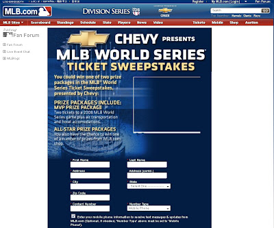 Chevy' MLB Postseason Sweepstakes 2010 on Worldseries.com/Chevy