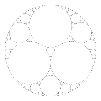 Fractal circular tiling, giving the  Apollonian Net / Apollonian  Gasket / Liebniz packing  diagram