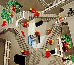 Andrew Lipson's lego rendition of Escher's 'Relativity', in Lego