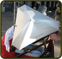 Black UNIVERSAL CLAMP BUGGY / PRAM PARASOL with UV Protection