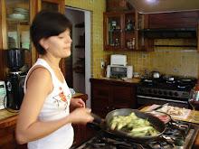La chef en acción