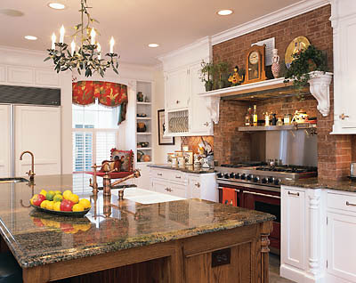 Cabinets and open shelving help create a farmhouse country kitchen - Modern Bedroom Modern Kitchen Luxury Bedding Country Kitchens