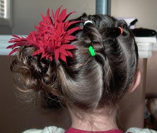 Little Girl's Hairstyles -Side Pull Through Ponytail Updo