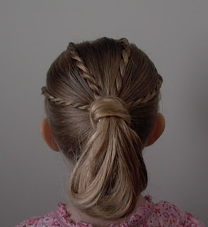 Little Girl's Hairstyles -Twist Braids into Ponytail Loop
