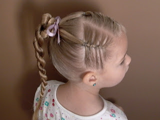 Little Girl's Hairstyles -French Twist Braids with Stacked Ponytail