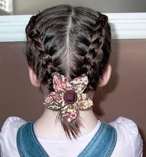 Little Girl's Hairstyles -Growing out bangs? Double Dutch or French Braid