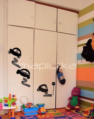 Mapiurka   adhesivos decorativos ba: dormitorio infantil: autitos ...