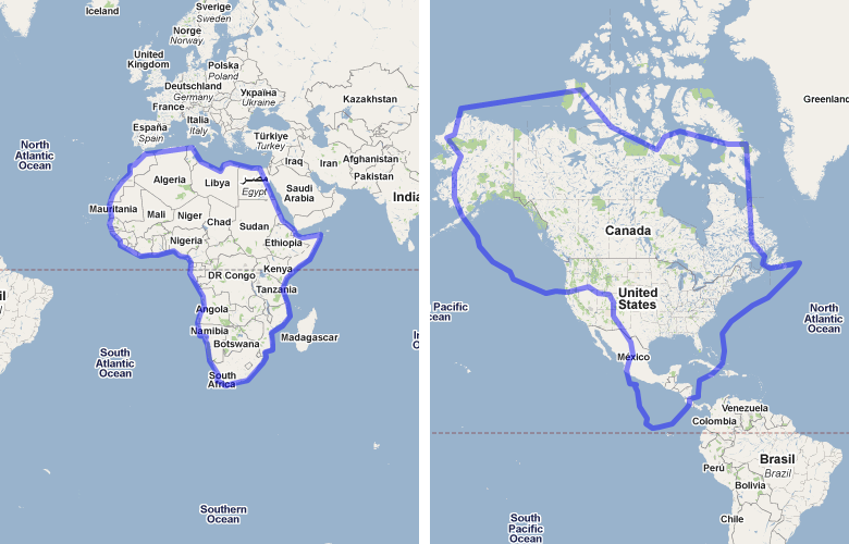 The area of Australia compared to the United States on Google Maps