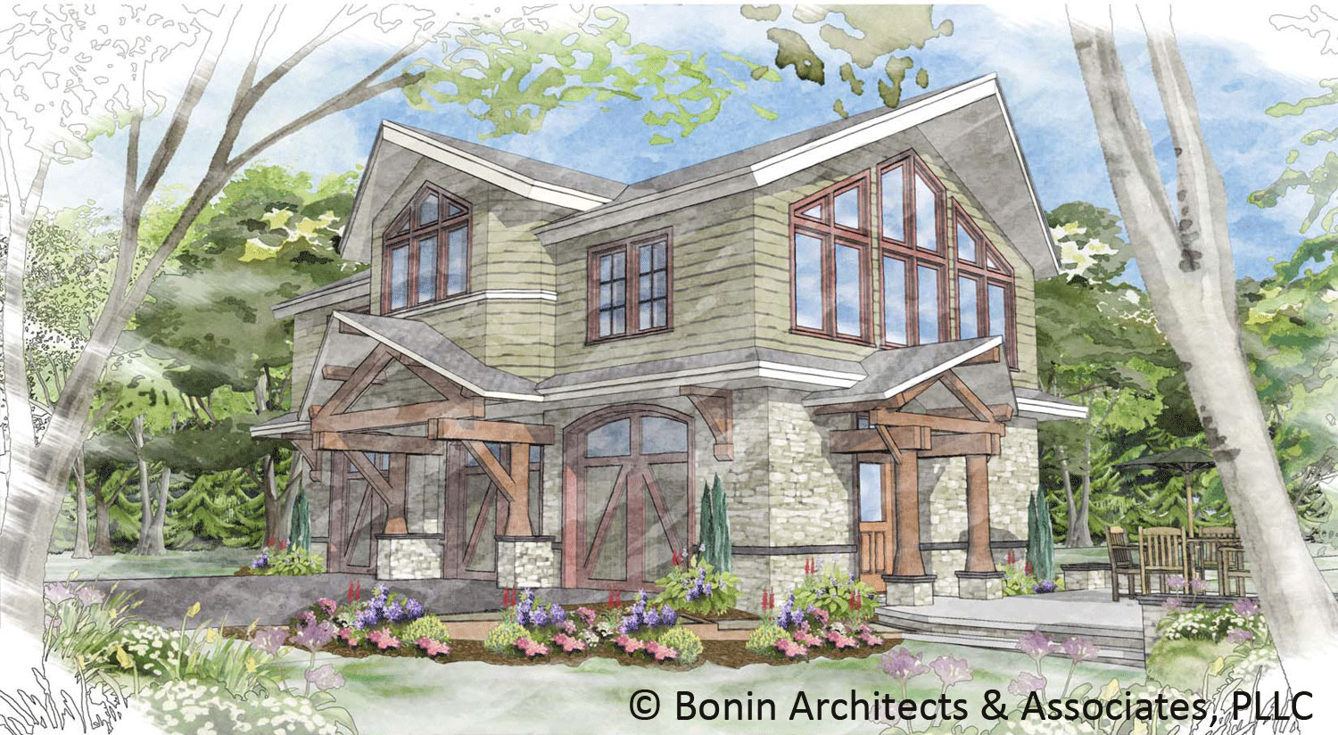 This carriage house design will be used as a guest house on a large  title=
