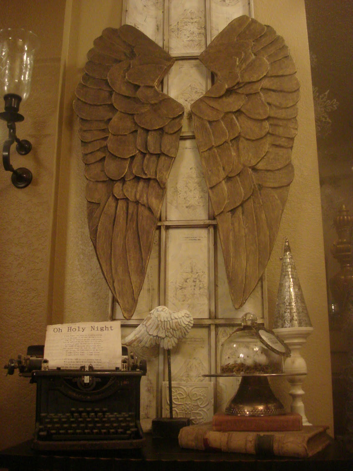 Let it shine carved angel wings for Angel wall decoration