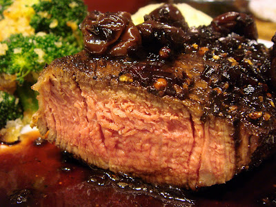 Pepper-Crusted Filet Mignon with Port-Cherry Reduction