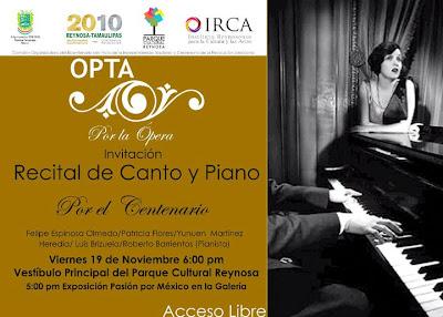 OPTA POR LA ÓPERA RECITAL DE CANTO Y PIANO