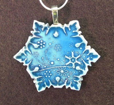 david cooke ceramics. Snowflake ceramic pendant