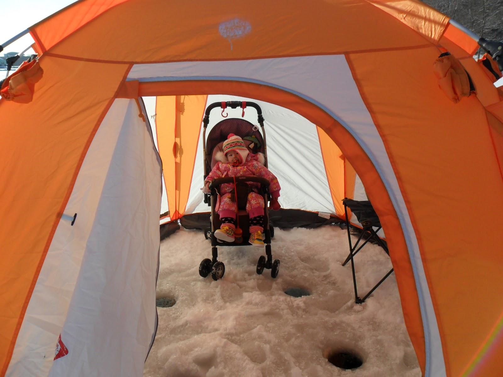 Nico (Keiu0027s daughter) hanging in the tent waiting for fishing to start. & Chopsticks u0026 Hockeysticks: We went ?? (Ice Fishing)!!!!