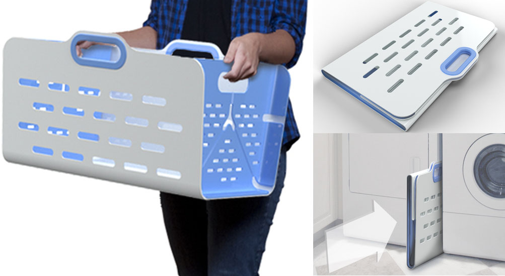 UnHampered - Laundry basket for small spaces... |unpressable buttons