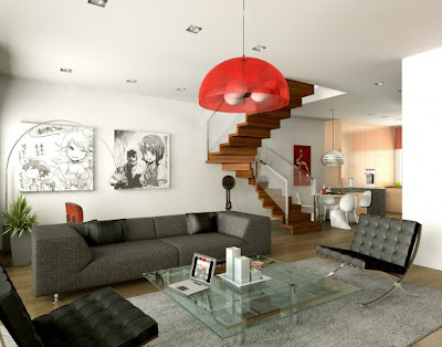 Site Blogspot  Room Decor on Interior Design  Red And White Living Room Designs
