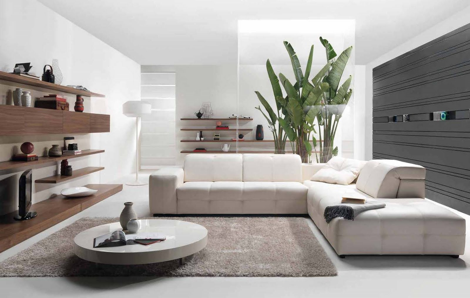 Future house design modern living room interior design for Modern home living room design