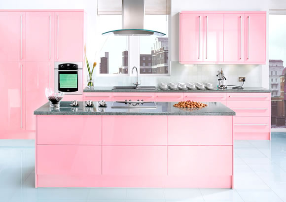 Modern pink kitchen design by julie michiels interior for Kitchen decoration pink
